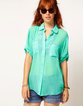 Image 1 ofASOS Sheer Shirt With Roll Back Sleeve