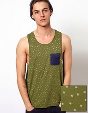 ASOS Vest With All Over Leaf Print And Oxford Pocket