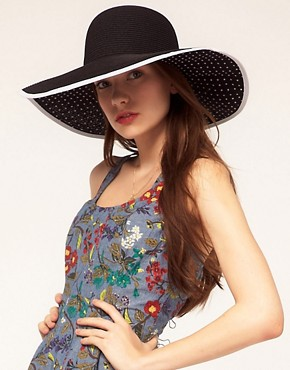 Image 1 ofASOS Straw Floppy Hat With Polka Dot Underbrim