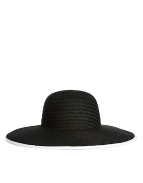 Image 4 ofASOS Straw Floppy Hat With Polka Dot Underbrim