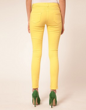 Image 2 ofASOS PETITE Skinny Jeans In Lemon Yellow #4