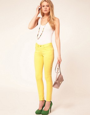 Image 4 ofASOS PETITE Skinny Jeans In Lemon Yellow #4