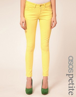 Image 1 ofASOS PETITE Skinny Jeans In Lemon Yellow #4