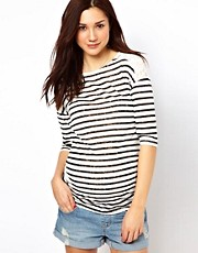 New Look Maternity Burn Out Stripe Top