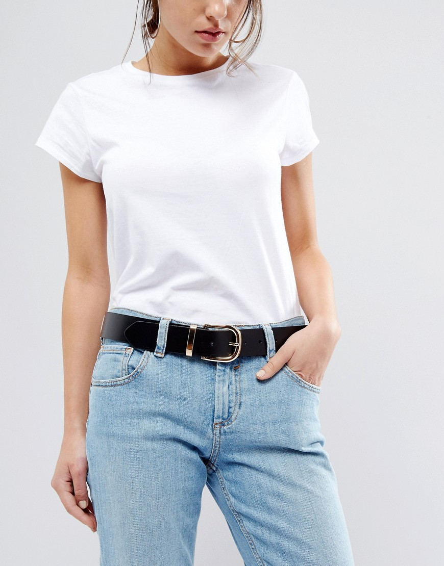 New Look Leather Gold Buckle Belt - Black