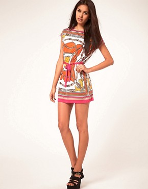 Image 4 ofJohn Zack Belt Print Waisted Dress