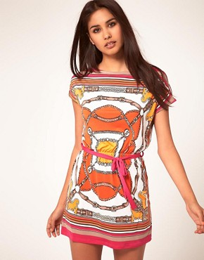 Image 1 ofJohn Zack Belt Print Waisted Dress