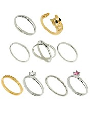 ASOS Owl Mixed Pinky Ring Pack