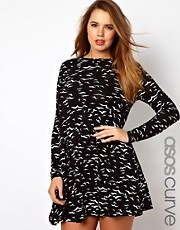 ASOS CURVE Exclusive Swing Dress In Bird Print