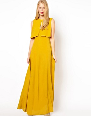 Image 1 ofASOS Maxi Dress With 70&#39;s Cape Neck Detail