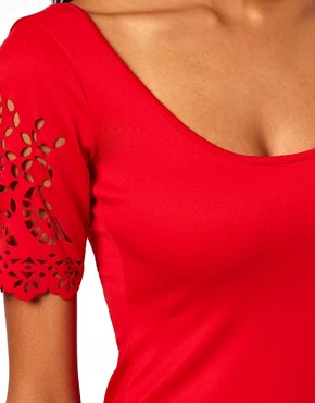 Image 3 of ASOS Bodycon Dress With Laser Cut Sleeves