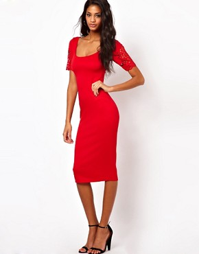 Image 4 of ASOS Bodycon Dress With Laser Cut Sleeves