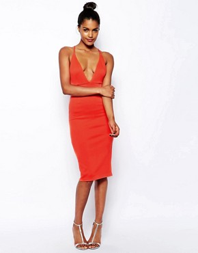 Oh My Love Scuba Plunge Neck Body-Conscious Dress With Strap Back