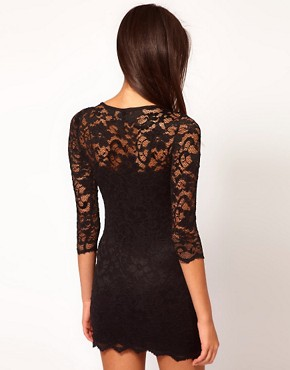 Image 2 ofASOS PETITE Slash Neck Lace Dress