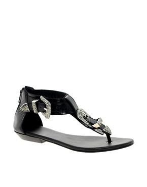 Image 1 ofRiver Island Western Buckle Flat Sandals