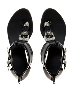 Image 2 ofRiver Island Western Buckle Flat Sandals