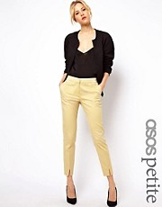 ASOS PETITE Exclusive Peg Trousers in Yellow Geo Print
