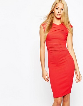 Lipsy Textured Ripple Wrap Bodycon Dress