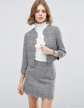 ASOS Scalloped Edge To Edge Tweedy Jacket