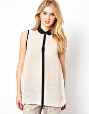 Mango Longline Shirt With Contrast Collar