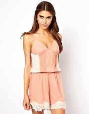 Coco&#39;s Fortune Lace Panel Playsuit