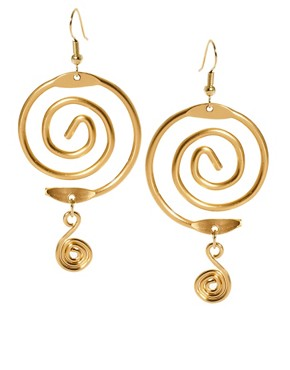 Image 1 ofSusan Caplan Exclusive For ASOS Vintage 90s Spiral Drop Earrings