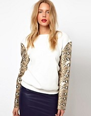 Lavish Alice Sweatshirt With PU Snake Print Sleeves
