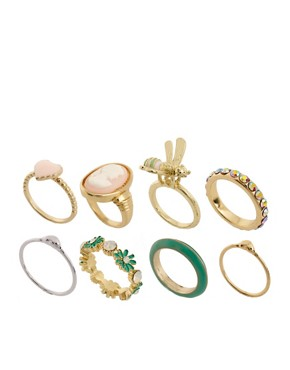 Image 1 ofASOS Pretty Vintage Pack of Rings