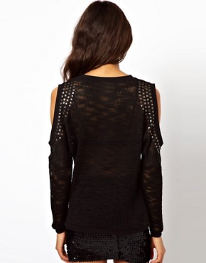 Image 2 ofASOS Studded Jumper With Cut Out Shoulders
