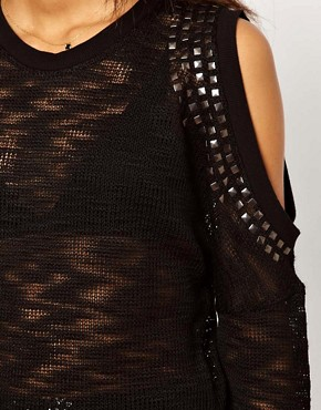 Image 3 ofASOS Studded Jumper With Cut Out Shoulders