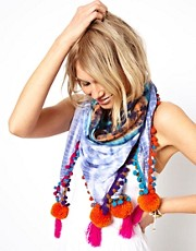 ASOS Tie Dye Pom Scarf