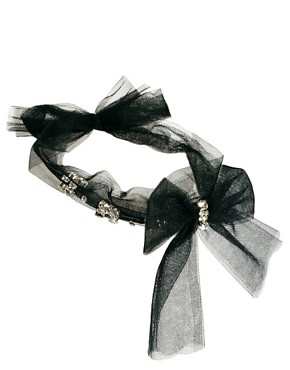 Image 2 ofAdele Marie Tie Bow Headband with Diamante