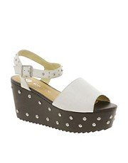 River Island Studded White Flatform Sandals