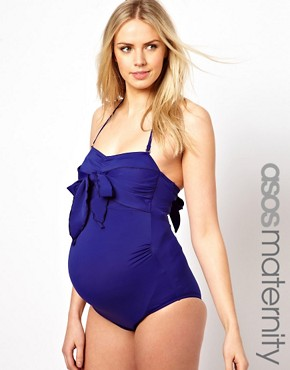Image 1 ofASOS Maternity Exclusive Swimsuit With Bow