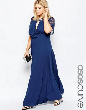 ASOS CURVE Kate Lace Maxi Dress with Flutter Sleeves