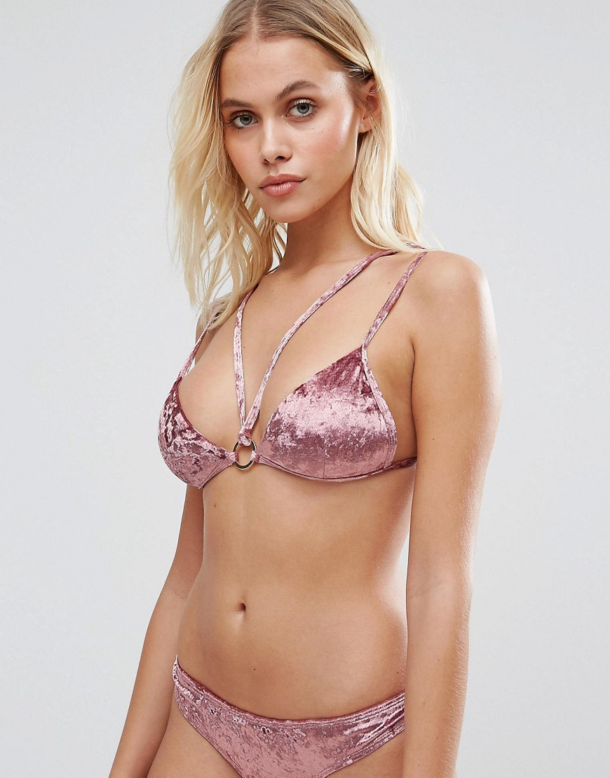 Lost Ink Velvet Strappy Bikini Top