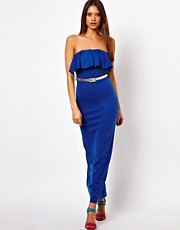 Paprika Layered Bust Cross Maxi Dress with Belt