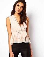 ASOS Top With Deep V-Neck And Bow Detail