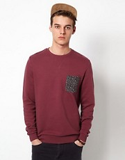 ASOS Sweatshirt With Leopard Print Pocket
