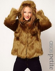 ASOS PETITE Hood Swing Fur Coat With Pom Poms