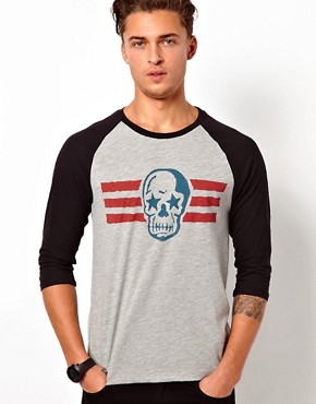 Image 1 ofASOS 3/4 Sleeve T-Shirt With Skull Print And Contrast Raglan Sleeves