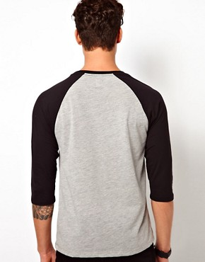 Image 2 ofASOS 3/4 Sleeve T-Shirt With Skull Print And Contrast Raglan Sleeves