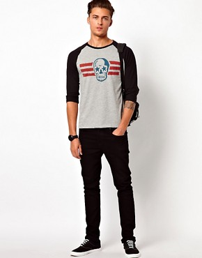 Image 4 ofASOS 3/4 Sleeve T-Shirt With Skull Print And Contrast Raglan Sleeves
