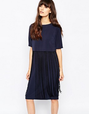Paisie Fringe Overlay Dress