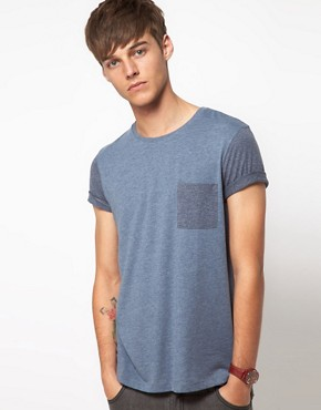 Image 1 ofASOS T-Shirt With Contrast Pocket And Sleeves
