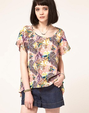 Image 1 ofBand of Gypsies Woven T-Shirt in Bird Print