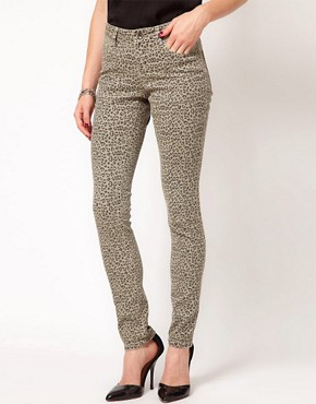 Image 1 ofASOS Skinny Jeans in Animal Print