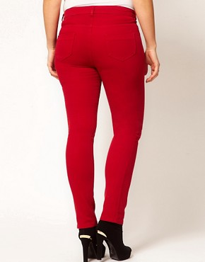 Image 2 ofASOS CURVE Exclusive Skinny In Red #4