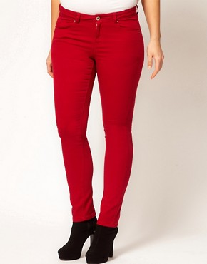 Image 4 ofASOS CURVE Exclusive Skinny In Red #4