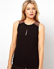 Oasis Vest Top with Embroidered Shoulder